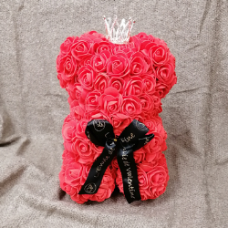 Ourson Roses Couronne Rouge H25Cm