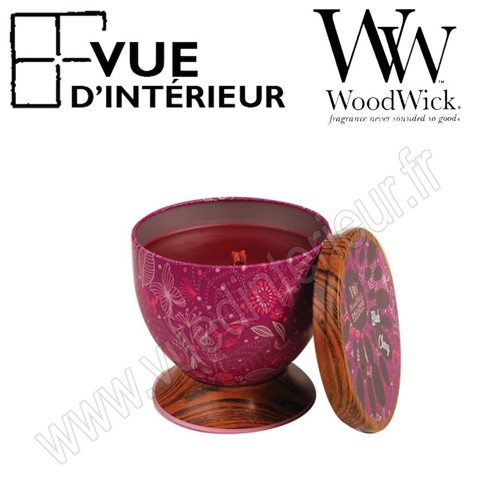 Bougie Parfum?e Black Cherry WoodWick Collection Gallerie Tin