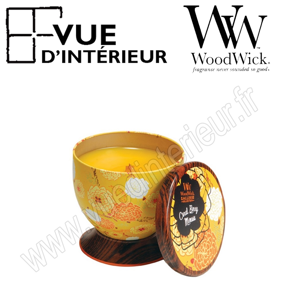Bougie Parfum?e Coral Berry Mimosa WoodWick Collection Gallerie Tin