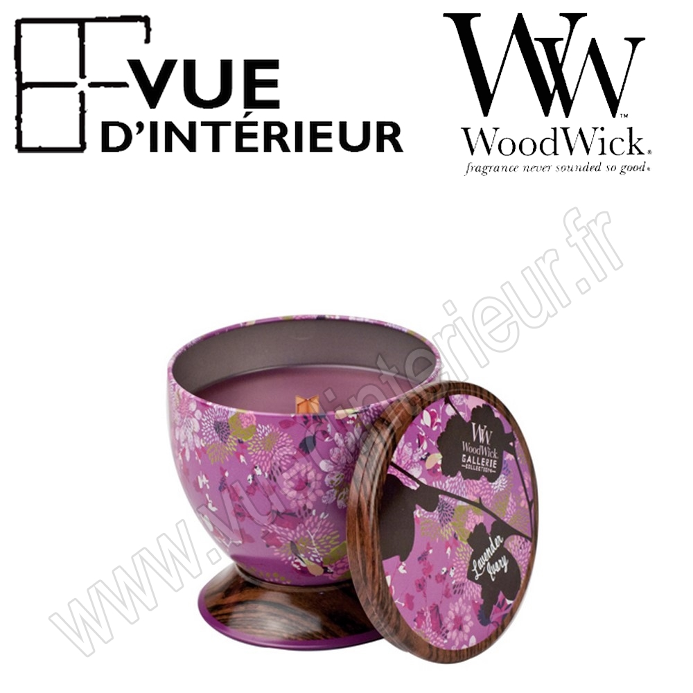 Bougie Parfum?e Lavender Ivory WoodWick Collection Gallerie Tin