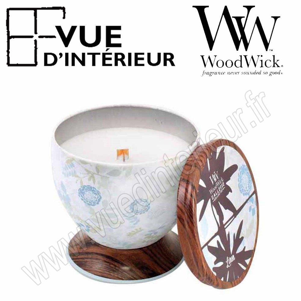 Bougie Parfum?e Linen WoodWick Collection Gallerie Tin