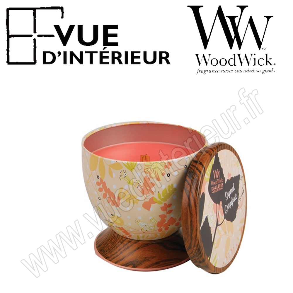 Bougie Parfum?e Sugar Grapefruit WoodWick Collection Gallerie Tin