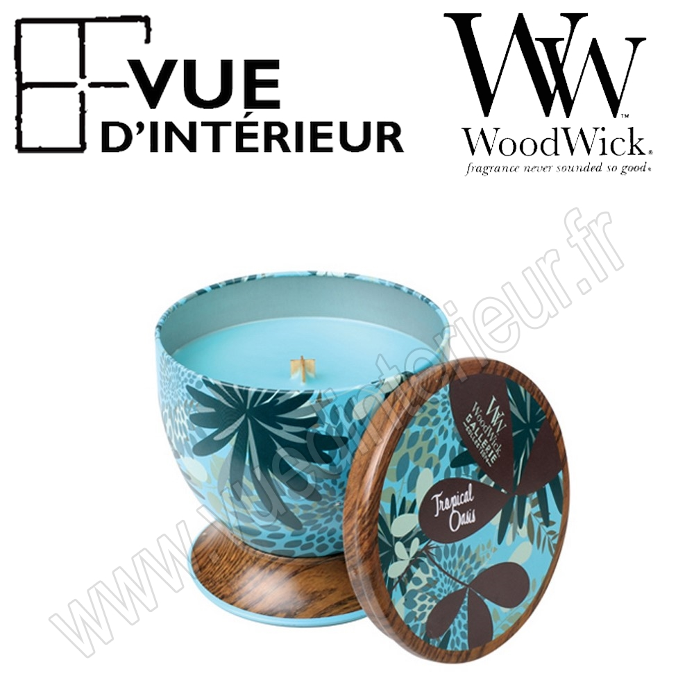 Bougie Parfum?e Tropical Oasis WoodWick Collection Gallerie Tin