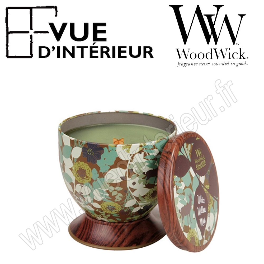 Bougie Parfum?e White Willow Moss WoodWick Collection Gallerie Tin