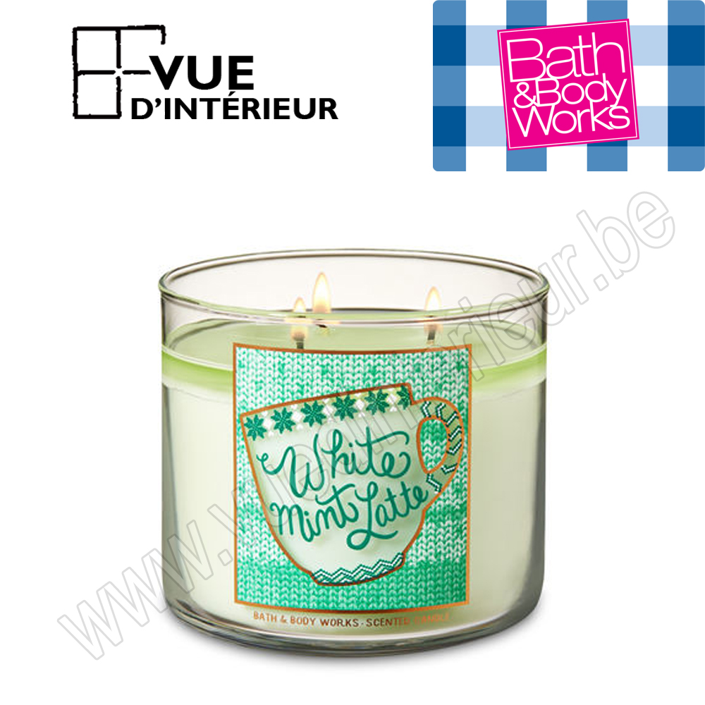 .Bougie Parfum?e White Mint Latte 3 M?che 411Gr Bath And Bodyworks